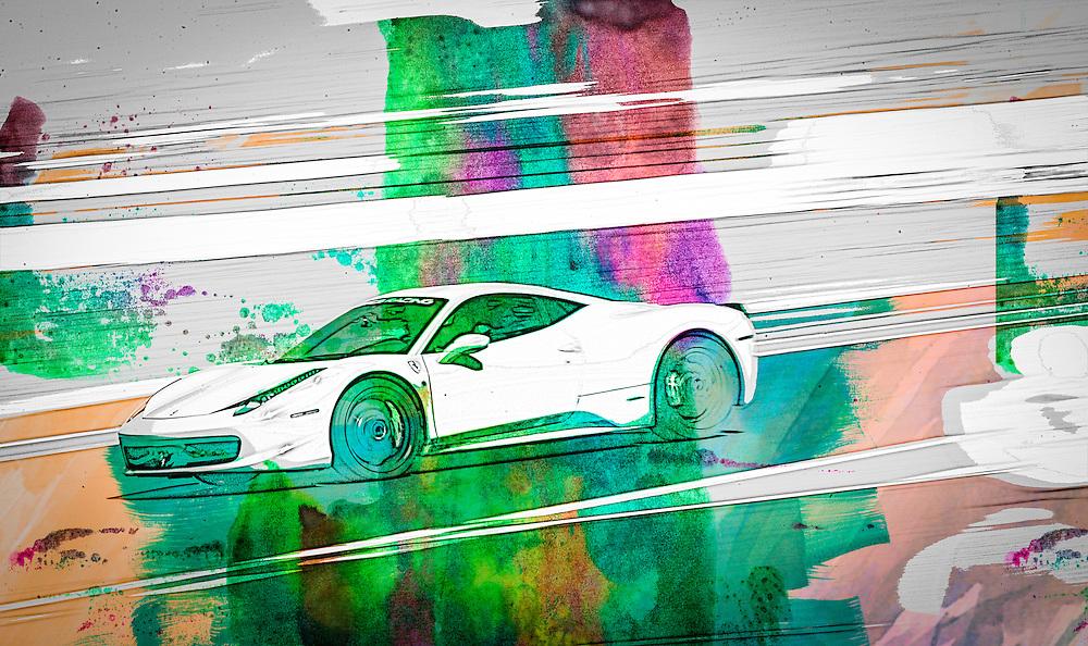 Racing car watercolor