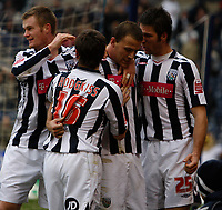 Photo: Steve Bond/Sportsbeat Images.<br />West Bromwich Albion v Charlton Athletic. Coca Cola Championship. 15/12/2007. Roman Bednar (CR) is congratulated by Jared Hodgkiss (CL), Chris Brunt (L) and Bostjan Cesar (R)