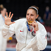 TOKYO, JAPAN August 8:  Five-time Olympic gold medalists Diana Taurasi of the United States with her gold medal at the medal presentation after the Japan V USA basketball final for women at the Saitama Super Arena during the Tokyo 2020 Summer Olympic Games on August 8, 2021 in Tokyo, Japan. (Photo by Tim Clayton/Corbis via Getty Images)