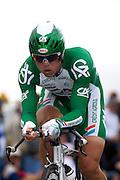France - Tuesday, Jul 08 2008:  Simon Gerrans (Aus) Crédit Agricole finished in 66th place on stage 4, 2' 50'' down on the winner Stefan Schumacher. The stage was a 29.5 km time trial starting and ending in Cholet.    (Photo by Peter Horrell / http://www.peterhorrell.com)