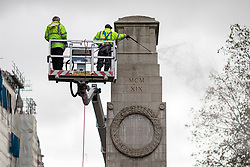© Licensed to London News Pictures. 02/11/2020. London, UK. The Cenotaph is jet-washed ahead of Remembrance Day. Ministers have come under pressure to clarify what impact new lockdown restrictions will have on Remembrance Day services and events. Photo credit: Rob Pinney/LNP
