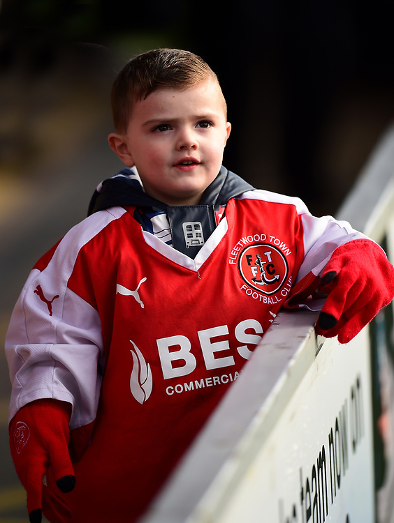 A young Fleetwood fan looks on<br /> <br /> Photographer Richard Martin-Roberts/CameraSport<br /> <br /> The EFL Sky Bet League One - Fleetwood Town v Rochdale - Saturday 14th October 2017 - Highbury Stadium - Fleetwood<br /> <br /> World Copyright © 2017 CameraSport. All rights reserved. 43 Linden Ave. Countesthorpe. Leicester. England. LE8 5PG - Tel: +44 (0) 116 277 4147 - admin@camerasport.com - www.camerasport.com