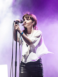 Lauren Eve Mayberry, the lead vocalist of the electronic music band Chvrches, play the King Tut's Wah Wah tent at T in the Park 2014.<br /> © Michael Schofield.