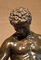 Washington DC, National Gallery.Close-up of a bronze statue of a man.