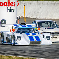 Peter Mckenzie, in the Ultra Sports, slips under  Nick Rahimtulla (Alfa Romeo Guilia) during a combined Sports Cars, Marque Sports Cars and Sports Sedans race at the WA Sporting Car Club's 2006 Winter Classic race meeting, held at Barbagallo Raceway in Wanneroo.