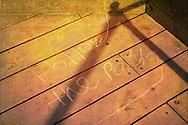 Follow the path written in chalk on the promenade in Littlehampton in England