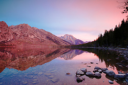 """Jenny Lake Sunrise, Mount Moran reflection, Grand Teton National Park<br /> <br /> For production prints or stock photos click the Purchase Print/License Photo Button in upper Right; for Fine Art """"Custom Prints"""" contact Daryl - 208-709-3250 or dh@greater-yellowstone.com"""