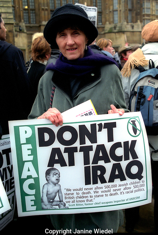 Anti-war  protesters waiting to lobby Parliament  London  24th January 2003.