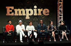 BEVERLY HILLS - AUGUST 8: Executive Producer Sanaa Hamri, cast members Jussie Smollett, Terrence Howard, Taraji P. Henson, Creator/Writer/Executive Producer Lee Daniels and Executive Producer Ilene Chaiken onstage during the panel for 'Empire' at the FOX portion of the 2017 Summer TCA press tour at the Beverly Hilton on August 8, 2017 in Beverly Hills, California. (Photo by Frank Micelotta/Fox/PictureGroup) *** Please Use Credit from Credit Field ***