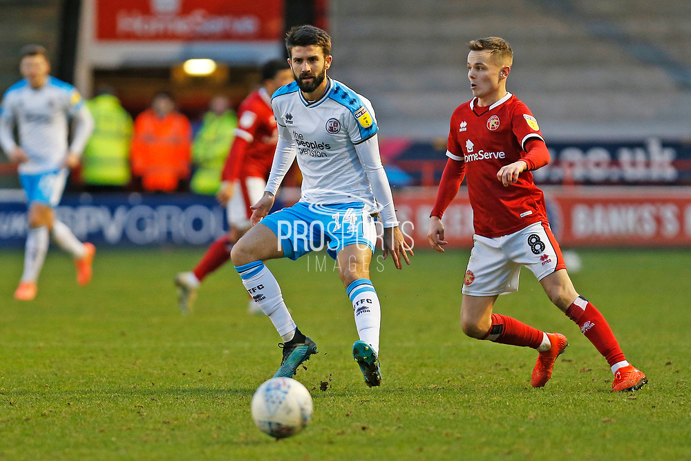 George Francomb and Liam Kinsella in action during the EFL Sky Bet League 2 match between Walsall and Crawley Town at the Banks's Stadium, Walsall, England on 18 January 2020.