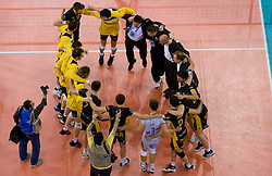 Players of Belchatow celebrate after winning the match for 3rd place of CEV Indesit Champions League FINAL FOUR tournament between PGE Skra Belchatow, POL and ACH Volley Bled, SLO on May 2, 2010, at Arena Atlas, Lodz, Poland. Belchatow defeated ACH 3-1. (Photo by Vid Ponikvar / Sportida)