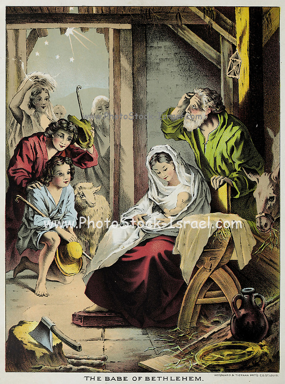 The Babe of Bethlehem From the book ' Young folks' Bible in words of easy reading : the sweet stories of God's word in the language of childhood and in the beautiful delineations of Christian art, the whole designed to impres the mind and heart of the youngest readers, and kindle a genuine love for the book of books ' by Pollard, Josephine, 1834-1892 Published in Chicago in 1889