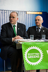 Pictured: <br /> <br /> Patrick Harvie, Co-Convenor of the Scottish Green Party met children at the Enjoy-a-Ball Holiday camp taking place at the North Merchiston Community Centre ahead of Tuesday's TV debate. Mr Harvie was joined by fellow MSP candidates Andy Wightman, Local Government Spokesperson, Maggie Chapman, Co-convener and Alison Johnston candiate for Lothian to present taxation proposals and answer questions.<br /> <br /> Ger Harley | EEm 29 March 2016