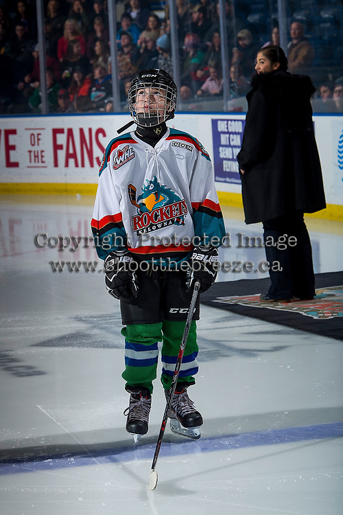 KELOWNA, CANADA - FEBRUARY 6:  The Pepsi Player of the game lines up against the Spokane Chiefs on February 6, 2019 at Prospera Place in Kelowna, British Columbia, Canada.  (Photo by Marissa Baecker/Shoot the Breeze)