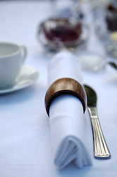 Close up of breakfast table with napkins