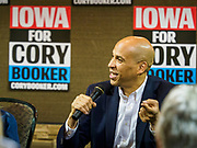 16 APRIL 2019 - CARROLL, IOWA: Senator CORY BOOKER, (D-NJ), running to be the Democratic nominee for the US Presidency, talks to voters during a town hall in Carroll, IA, about 90 miles northeast of Des Moines. Iowa traditionally hosts the the first selection event of the presidential election cycle. The Iowa Caucuses will be on Feb. 3, 2020.       PHOTO BY JACK KURTZ