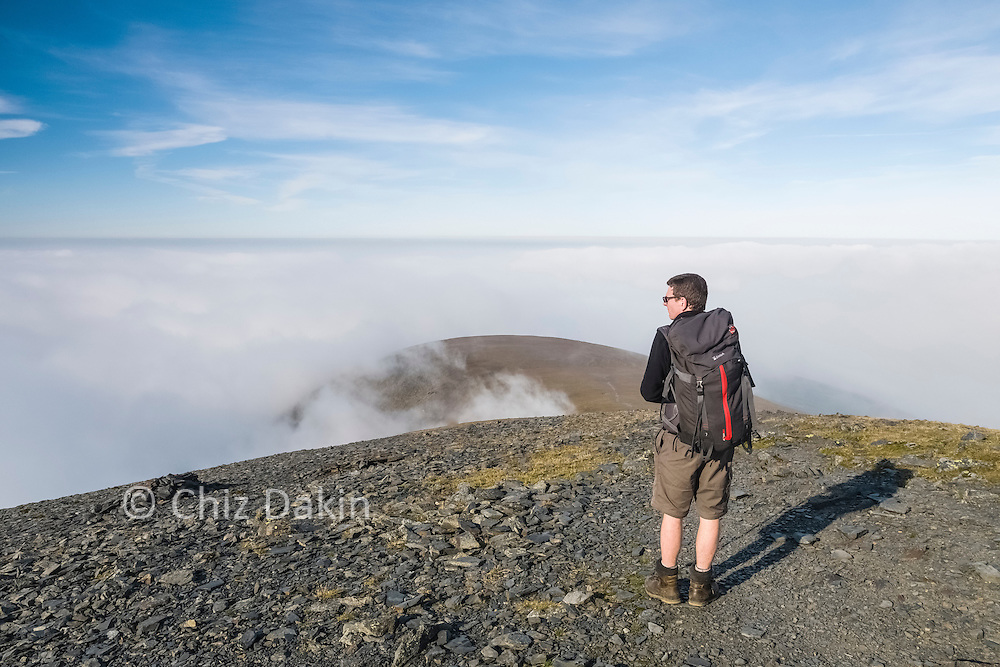 The mist clouds in again as we begin to descend from the summit of Skiddaw