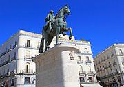 Equestrian statue King Carlos III, Plaza de la Puerta del Sol, Madrid city centre, Spain