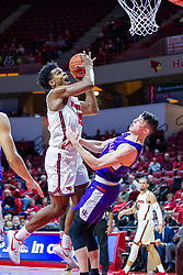 NORMAL, IL - January 29: Jaycee Hillsman collects a bucket and a foul from Arthur Labinowicz during a college basketball game between the ISU Redbirds and the University of Evansville Purple Aces on January 29 2020 at Redbird Arena in Normal, IL. (Photo by Alan Look)