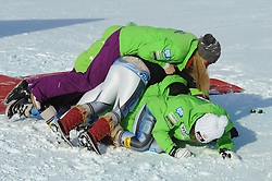 12.01.2013, Karl Schranz Abfahrt, St. Anton, AUT, FIS Weltcup Ski Alpin, Abfahrt, Damen, Podium, im Bild Alice Mckennis (USA, Platz 1)  // 1st place Alice Mckennis of the USA celebrate on Podium during ladies Downhill of the FIS Ski Alpine World Cup at the Karl Schranz course, St. Anton, Austria on 2013/01/12. EXPA Pictures © 2013, PhotoCredit: EXPA/ Spiess