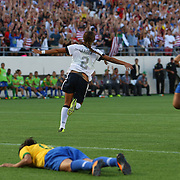 U.S. forward Sydney Leroux (2) celebrates after scoring her second goal of the game, during a women's soccer International friendly match between Brazil and the United States National Team, at the Florida Citrus Bowl  on Sunday, November 10, 2013 in Orlando, Florida. (AP Photo/Alex Menendez)