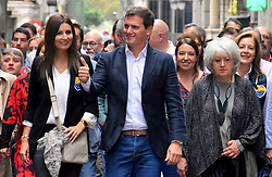 October 7, 2018 - Barcelona, Catalonia, Spain - The leader of the political party Citizens Albert Rivera seen On his arrival at the Sant Jaume Square during the protest..The platform España Ciudadana, with the presence of the political leader Albert Rivera, and under the slogan No to violence, yes to the constitution, has demonstrated with hundreds of people denouncing the worrying situation that Catalonia is going through. (Credit Image: © Ramon Costa/SOPA Images via ZUMA Wire)