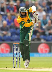 South Africa's Hashim Amla bats during the ICC Champions Trophy match at The SWALEC Stadium Cardiff.