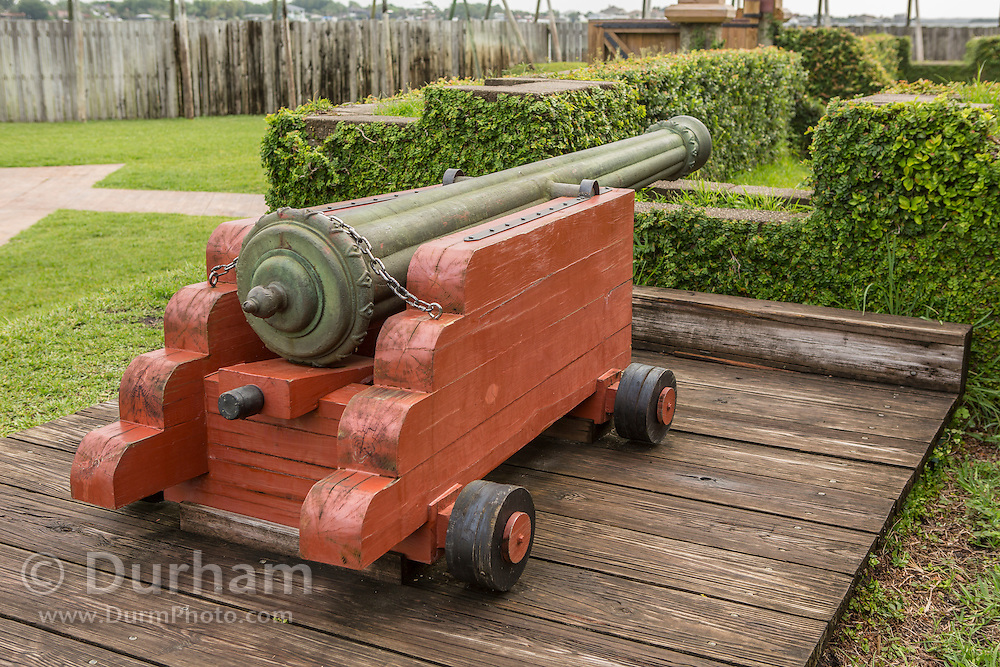 A French cannon in a replica of Fort Caroline in Timucuan Ecological and Historic Preserve. Fort Caroline memorializes the short-lived French presence in sixteenth century Florida.