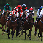 Horses and jockey's gallop around the bend as they head into the finish straight during a day at the Races at the Gore Race Meeting, Gore, Southland, New Zealand. 18th December 2011. Photo Tim Clayton