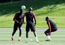 Yaya Toure of Manchester City trains with Fernando and Eliaquim Mangala - Mandatory by-line: Matt McNulty/JMP - 23/08/2016 - FOOTBALL - Manchester City - Training session ahead of Champions League qualifier against Steaua Bucharest