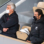 PARIS, FRANCE October 09.  Coaches Patrick Mouratoglou and Apostolos Tsitsipas watching Stefanos Tsitipas of Greece in action against Novak Djokovic of Serbia in the Semi Finals of the singles competition on Court Philippe-Chatrier during the French Open Tennis Tournament at Roland Garros on October 9th 2020 in Paris, France. (Photo by Tim Clayton/Corbis via Getty Images)