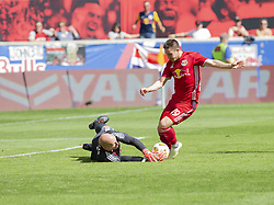 September 30, 2018 - Harrison, New Jersey, United States - Goalkeeper Brad Guzan (1) of Atlanta United FC saves against Alex Muyl (19) of Red Bulls during regular MLS game at Red Bull Arena Red Bulls won 2 - 0  (Credit Image: © Lev Radin/Pacific Press via ZUMA Wire)