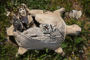 Effigy of Jesus coming hatching from a shell of a plaster tortoise in Pioneer Town garden  California.