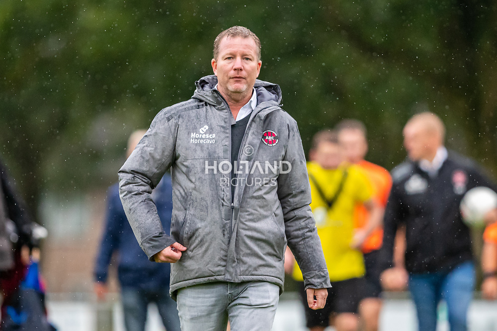 ALPHEN AAN DEN RIJN, NETHERLANDS - OCTOBER 2: Trainer/coach Mark Evers (ARC) during the Hoofdklasse-A match between ARC and DHSC at Sportpark Zegersloot on October 2, 2021 in Alphen aan den Rijn, Netherlands