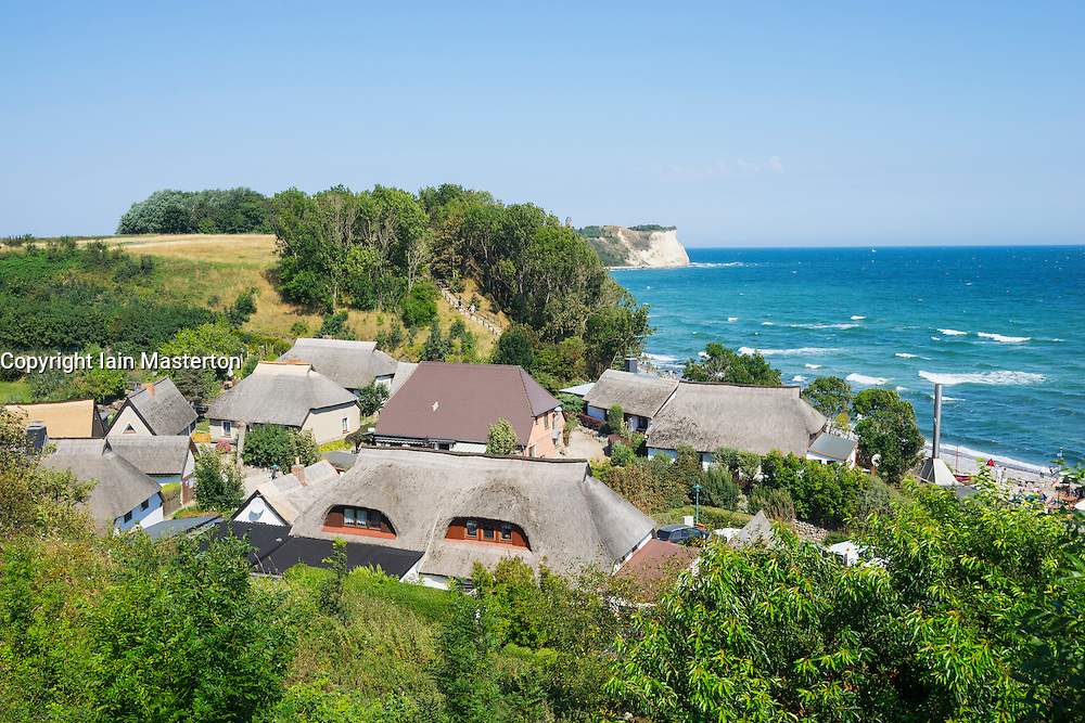 View over rooftops of historic former fishing village of Vitt near Cape Arkona on Wittow Peninsula on Rugen Island in Germany