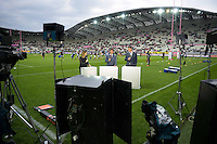 Illustration Plateau Canal + - Isabelle Ithurburu / Marc Lievremont / Fabien Pelous - Stade Jean Bouin - 29.05.2015 - Stade Francais / Racing Metro - Barrages Top 14<br />Photo : Andre Ferreira / Icon Sport