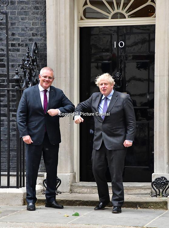 PM Boris Johnson and Scott Morrison at 10 Downing street on 14th June 2021, London, UK.