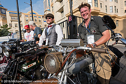 Buck Carson of Texas on his 1916 BSA beside Ryan Allen of New Mexico on his 1916 Indian on the Atlantic City boardwalk at the start of the Motorcycle Cannonball Race of the Century. Stage-1 from Atlantic City, NJ to York, PA. USA. Saturday September 10, 2016. Photography ©2016 Michael Lichter.