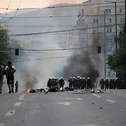 Panepistimiou Street  during the the protests in Athens against the  unpopular austerity measures, June 29, 2011