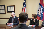 """WASHINGTON, DC - MAY 24: National Association of Music Merchants President Joe Lamond with other NAMM members speak with staff members of Sen. Tom Cotton (R-AR) during """"NAMM, VH1 And CMA Day Of Music Education Advocacy Capitol Hill"""" in the Russell Senate Office Building on May 24, 2017 in Washington, DC. (Photo by Kris Connor/Getty Images for NAMM) *** Local Caption *** Joe Lamond"""