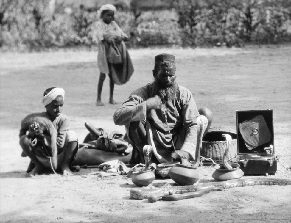 Snake Charmers, Benares, India, 1929