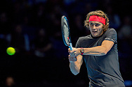 Alexander 'Sasha' Zverev of Germany in action  during the Nitto ATP Tour Finals at the O2 Arena, London, United Kingdom on 18 November 2018. Photo by Martin Cole