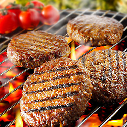 Barbecue burgers on a BBQ grill