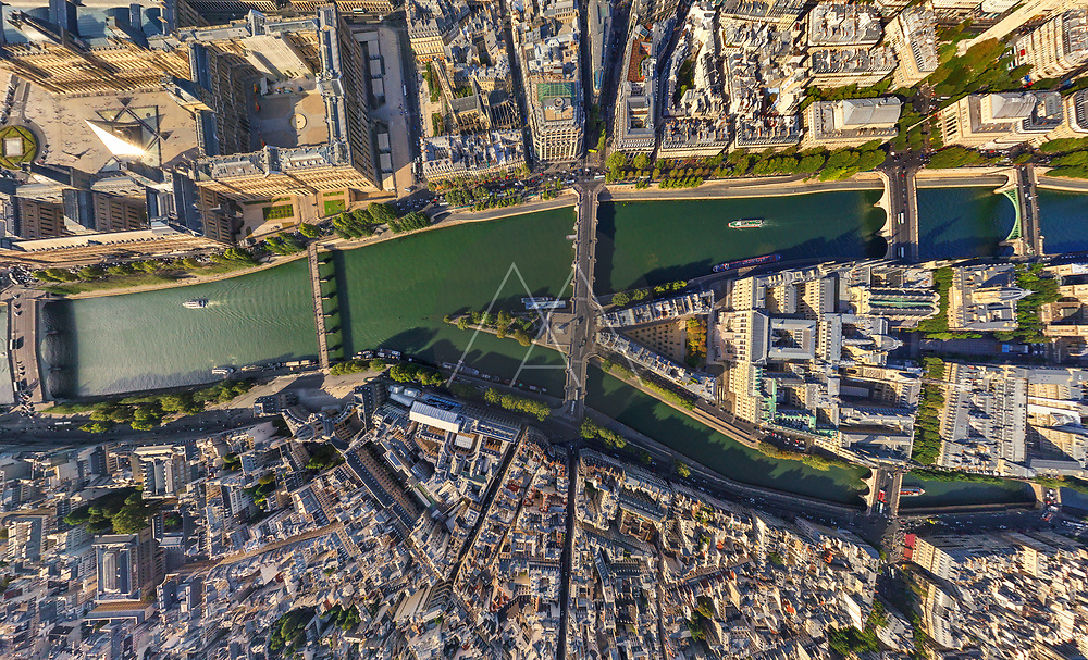 Aerial view above of Île de la Cité, Paris, France.
