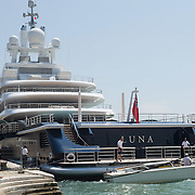 """VENICE, ITALY - JUNE 05:  Super yacht """"Luna"""" owned by Russian  millionaire Roman Abramovic is seen moored in Riva Sette Martiri between the Biennale Gardens and St Mark's Square on June 5, 2011 in Venice, Italy. Most Venetians are agnainst the arrival and mooring of giant super yachts and Venice Mayor Giorgio Orsoni is considering a Eco Tax to be imposed on them."""