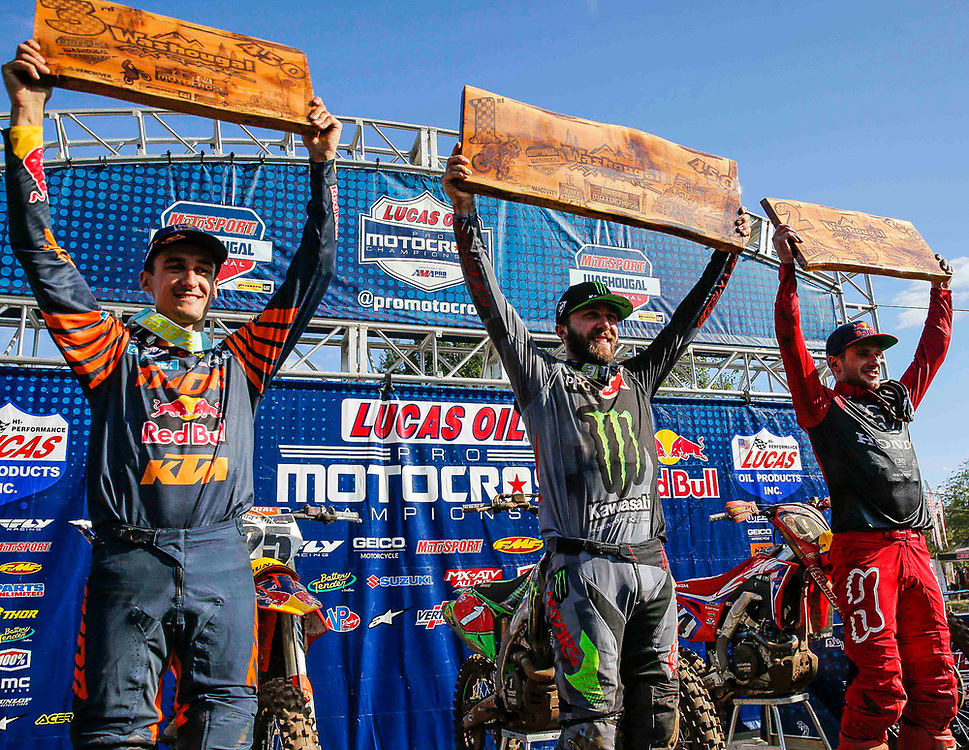 JUL 27, 2019, Washougal, WA  USA : # 25 Marvin Musquin, # 1 Eli Tomac and # 94 Ken Roczen on the winners podium after the Lucas Oil Pro Motocross Washougal National 450 class championship at Washougal MX park Washougal, WA  Thurman James / CSM