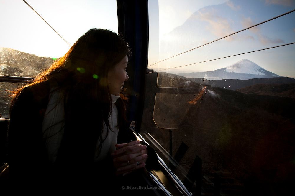 FUJI, HAKONE, JAPAN - The mount Fuji - view form the cable car under a sunset light. - December 2010