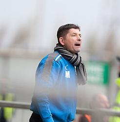 Morton's manager Allan Moore..half time : Falkirk 0 v 1 Morton, 4/5/2013..© Michael Schofield..
