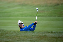 Great Britain's Georgia Hall plays from the fairway bunker at the 18th hole during her semi final match with Sweden this morning during day eleven of the 2018 European Championships at Gleneagles PGA Centenary Course.