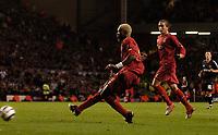 Photo: Jed Wee.<br />Liverpool v Anderlecht. UEFA Champions League.<br />01/11/2005.<br /><br />Liverpool's Djibril Cisse scores.